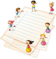 Children playing at the paper borders vector image vector image
