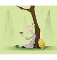 chinese old man sitting under the tree vector image vector image
