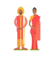 Couple Wearing National Costumes Of Red And Orange vector image vector image