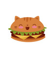 cute burger kawaii food cartoon character vector image