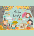 cute children meeting autumn wearing warm clothes vector image vector image