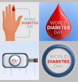 diabetes day banner set cartoon style vector image