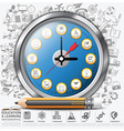 Education And Learning Clock Step Infographic vector image