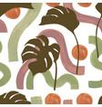 elegant tropical leaf with watercolor minimal vector image