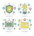 Flat line Internet Security Financial Growth vector image