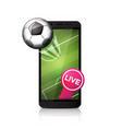 football soccer ball flying from smartphone screen vector image vector image