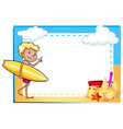 Frame showing a boy at the beach vector image vector image
