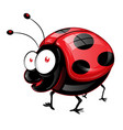 funny ladybug has big eyes emoji cartoon vector image vector image