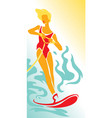 girl on water skiing vector image vector image