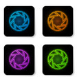 glowing neon camera shutter icon isolated on vector image vector image