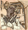 Gunman Bison - An hand drawn Line art vector image vector image