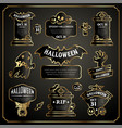 halloween design labels black and gold set vector image