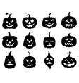 halloween funny horror pumpkin set vector image