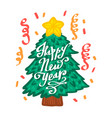happy new yearon christmas tree typographic emblem vector image vector image
