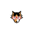 husky dog geek logo vector image