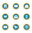 love letter icons set flat style vector image vector image