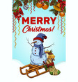 merry christmas banner with snowman on sledges vector image vector image