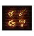 neon artist signs isolated on brick wall p vector image vector image