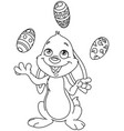 outlined bunny juggling easter eggs vector image vector image