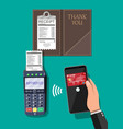 pos terminal and smartphone payment transaction vector image vector image
