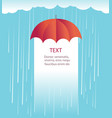 rain clouds with red umbrellaprotects against rain vector image vector image