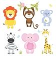set cute cartoon wild animals vector image vector image