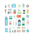 set medications drugs pills and bottles vector image vector image
