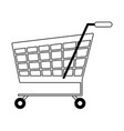 shopping cart symbol isolated in black and white vector image vector image