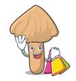 shopping inocybe mushroom character cartoon vector image vector image