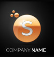 silver letter s logo gold dots splash and bubble vector image vector image