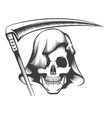 skull in hood with scytattoo vector image vector image
