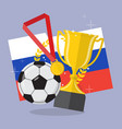 soccer ball with achievement awards vector image