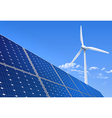 Solar panel and wind turbine vector image vector image