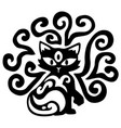 three eye cat decoration stencil vector image