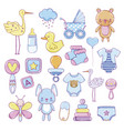 variety bashower stickers vector image vector image