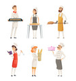 various cartoon characters bakers at work vector image vector image