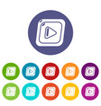 video icons set color vector image