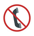 warning sign talking on phone is prohibited vector image vector image