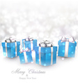 Winter background with blue christmas gifts vector image vector image