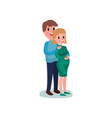 young happy couple hugging cheerful man touching vector image vector image