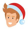 young man head with santa hat vector image vector image