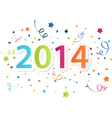 Happy New Year 2014 with colorful celebration back vector image