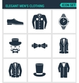 Set of modern icons Elegant men s clothing vector image