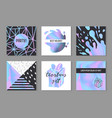 abstract creative posters set with holographic vector image