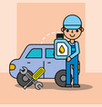 auto mechanic engine oil wrench screwdriver tool vector image