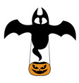 bat with pumpkin vector image