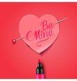 be mine - written marker on red paper heart vector image vector image
