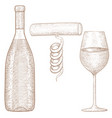 bottle and glass wine with corkscrew hand vector image vector image