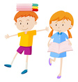 Boy and girl with books vector image vector image