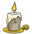 cartoon flaming candle on golden stand icon vector image